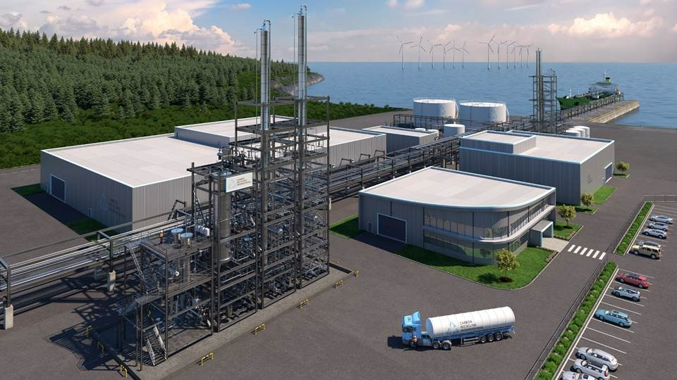 Skisse av metanolfabrikk